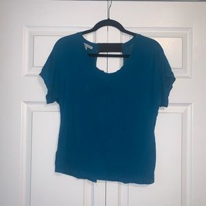 Blue open back shirt